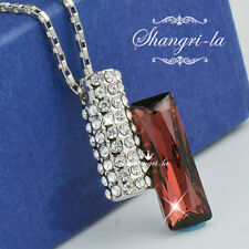 18K White GOLD GF BURGUNDY Womens NECKLACE SWAROVSKI CRYSTAL NY2700 Jewellery