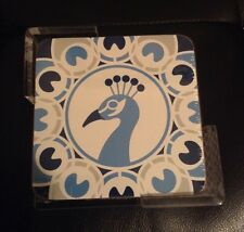 Peacock Set of 6 Coasters W Lucite Tray Diet Pepsi -Vern Kip Limited Edition NIP