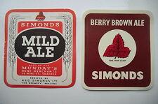 MINT PAIR OF SIMONDS  LABELS BERRY BROWN ALE & MILD ALE MUNDAYS SWANSEA