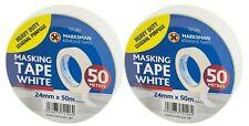 2 x MARKSMAN Heavy Duty White Masking Tape - 24mm x 50m