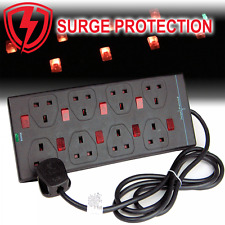UKDJ Surge Protected 8 Way Individually Neon Switched Extension Lead 5M Black