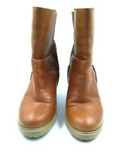 Camper Womens Camel Leather Wood Heel Pull On Ankle Boots Size 36 US 6