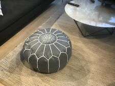 Stunning Moroccan Leather Ottoman Pouffe Pouf Footstool In Dark Grey