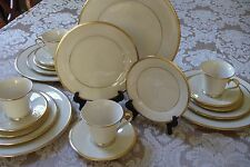 Lenox China Eternal Four 5 pc Place Setting Gold Back Stamp Mint 20 pc SET