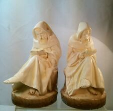 Vtg Chalkware Reading Studying Monk Priest Religious Bookends set