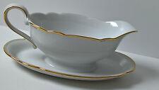 ovale Sauciere Porzellan weiß gold Inka Seltmann Weiden Bavaria 50er 60er