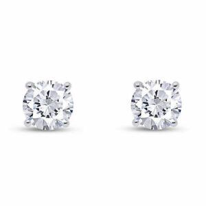 IGI Certified Real Round Diamond Stud Screw Back Earrings 10k Gold (.50ct & Up )