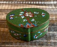 Vintage Asian Floral Cloisonne Trinket Box Enameled Brass