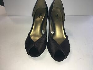 Mossimo Brown Open Toe Heel Shoes Size 6 US, Preowned Fast Free Shipping