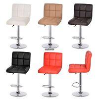 2PCS Swivel Leather Adjustable Dining Bar Stool Counter Chair Barstool Modern