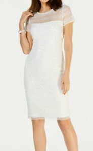 Adrianna Papell Women's Dress White Ivory Size 12 Sheath Sequined $199 #417