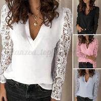 ZANZEA Women Deep V Neck Low Cut Tops Shirt Lace Crochet Sexy Pullover Blouse US