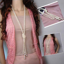 Women Multilayer Long Pearl Necklace Pendant Sweater Chain Jewelry