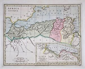 OLD ANTIQUE MAP NORTH AFRICA ANTIQUA LIBYA c1798 by R WILKINSON HAND COLOUR