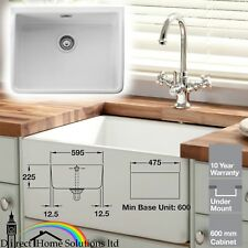 Rangemaster CBL595WH Belfast 60cm Single Bowl Ceramic Sink Incl Chrome Waste Kit