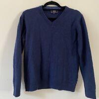 John Lewis Merino Wool Cashmere Navy Blue Jumper Mens Size L R3