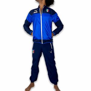 Puma Italy Italia Soccer Windbreaker Track Suit Jacket Trackies Glanz Blue XS