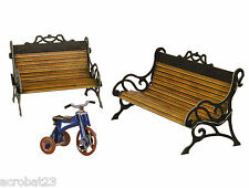 Furniture for Dolls BENCHES AND BICYCLE Dollhouse Miniature Scale 1:12 Model Kit