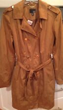 Brown Vegan Suede Leather Long Trench Coat Sz.XL ANA Gold Buttons Zipper Sleeve