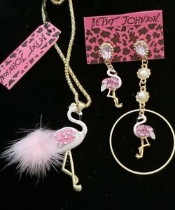 BetseyJohnson pink Crystal Enamel Flamingo Brooch pin & Earrings Gold plated