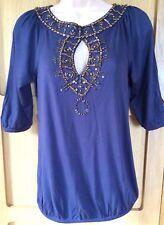 NEXT 8 vgc ladies navy bronze bead keyhole neck long tunic blouse top 3/4 sleeve
