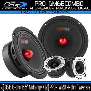 "2x DS18 PRO-GM6B 6.5"" Midrange Bullet Loud Speakers 2x PRO-TW120 Super Tweeters"
