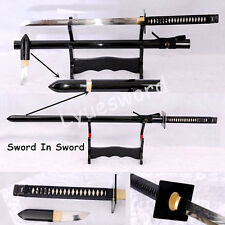 Clay Tempered T10 Steel Ninja Sword In Sword Battle Sharp Blade Japanese Ninjato