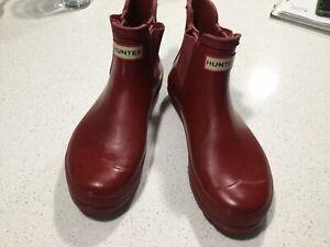 Hunter Women's Original Chelsea Ankle Rain Boots - Red UK 6 US 8