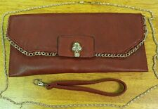 IN'S Clutch Hand Bag With Skull Button Gold Chain Strap NEW