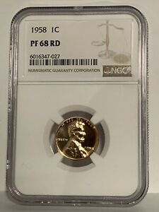 1958 Proof 1C Lincoln Wheat Cent NGC PF 68 RD