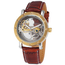 Men's Transparent Gold Bridge Skeleton Automatic Mechanical Watch Brown Leather