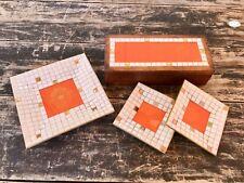 Rare Georges Briard Mosaic Tile Tray & Lidded Box Set Mid Century Modern Emblem