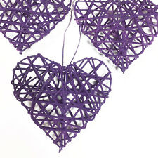 TRIO OF PURPLE 10cm RUSTIC RATTAN HANGING LOVE HEARTS - WEDDING GIFT DECORATION
