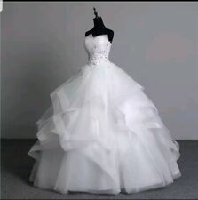 UK Real Image Ivory Organza Lace Sequins Ball Gown Wedding Dress Size 10