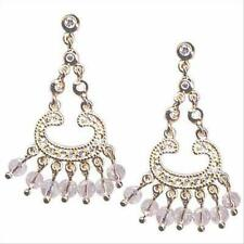 18K Gold over 925 Silver Pink & Clear CZ Beads Chandelier Earrings