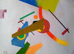 IVAN KLIUN Signed Painting Color Figures - Abstract Avant Garde Russian USSR Art
