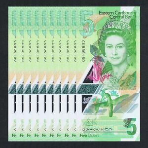 2021 EAST CARIBBEAN 5 DOLLARS POLYMER P-NEW UNC LOT 10 PCS> >QUEEN E II DOMINICA
