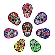 8pcs Mexican Embroidered Sugar Skull Motif Iron on Patches Sewing Decoration