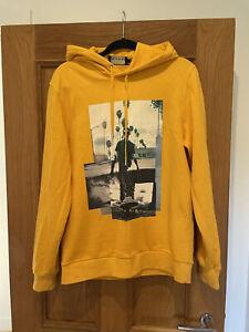Mens The Kooples Sport Yellow Hoodie Jumper Size M