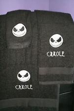 Nightmare Christmas Jack Skull Personalized  3 Piece Bath Towel Set Skelton