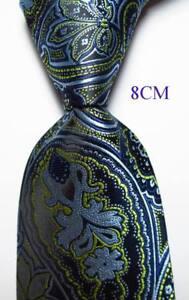 New Classic Paisley Yellow Black Blue JACQUARD WOVEN 100% Silk Men's Tie Necktie