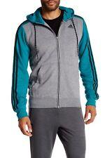 Hommes Adidas Essential 3 S Sweat à Capuche Survêtement Track Top Originals Gris Taille M