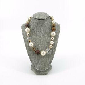 Cookie Lee Beaded Faux Pearl Animal Print Safari Necklace