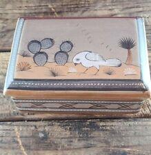 Vintage Tonala Ceramic Lidded Box Hand Painted Bird Artist Signed