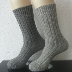 2 Pair Women's MH Alpaca Chunky Knitted Wool Socks 100% Light Dark Grey 35 - 42