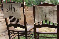 """Mr and Mrs"" - Burlap Chair signs Rustic Wedding Barn Wedding  Black Font banner"