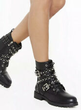 USS* Womens Looks Stud on You Black Biker Boots Eur 37/uk4