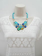 Sparkly Bib Necklace in Turquoise Blue with Diamante in a Flower Design