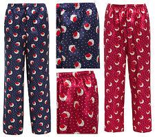 Ladies Satin Trousers Christmas Lounge Bottoms Pyjama Pants Novelty NavyBlue Red