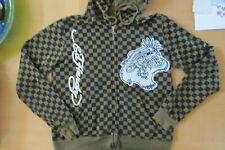 Don Ed Hardy Designs Mens Tiger Flame Skull Olive Zip up Olive Jacket Medium